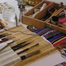 thanka paints and thanka brushes used for tibetan buddhist art