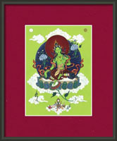 thanka print green tara in frame